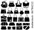 Female purse set isolated on white - stock vector