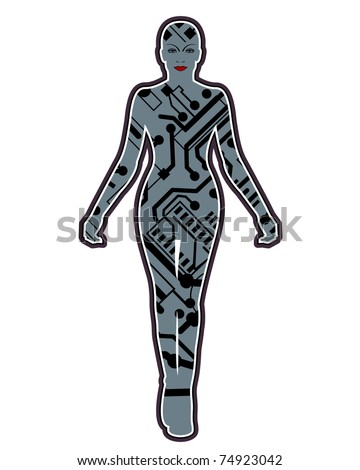 female robot isolated - stock vector