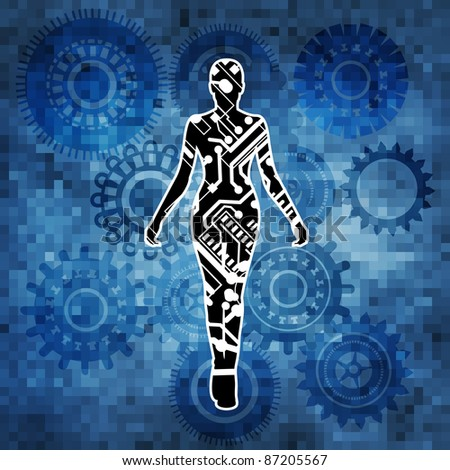 female robot with gears and full moasic background - stock vector