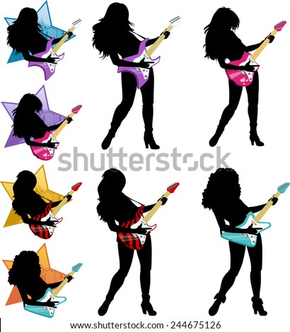 Female rock musician playing electric guitar vector illustrations set silhouettes - stock vector