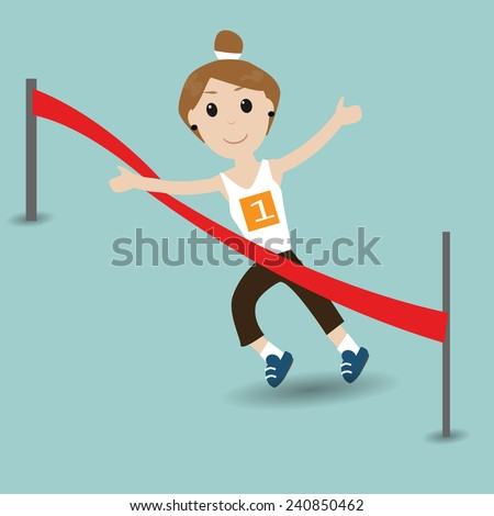 female running to the finish line - stock vector