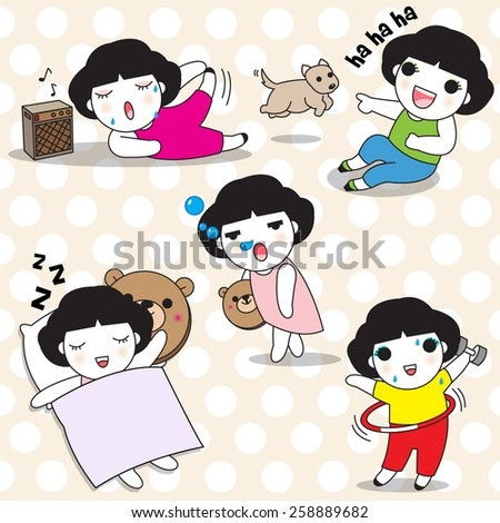 Female's Free Time Characters illustration - stock vector