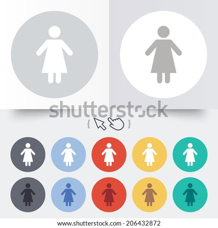 Female sign icon. Woman human symbol. Women toilet. Round 12 circle buttons. Shadow. Hand cursor pointer. Vector - stock vector