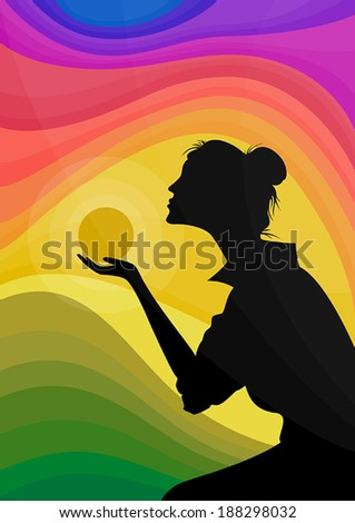 Female silhouette holding a sun on a hand in front of vivid sunset - stock vector