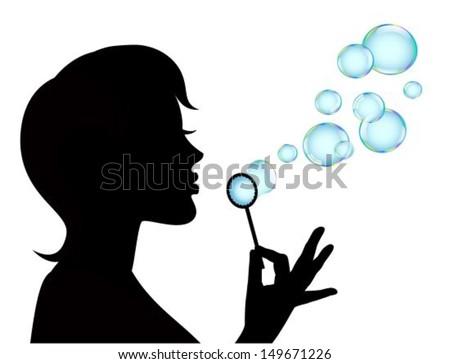 female silhouette in profile blows shiny bubbles - stock vector