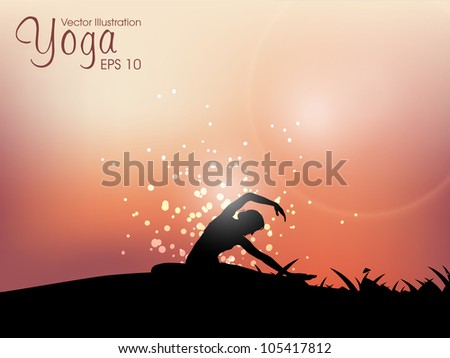 Female silhouette in yoga posture on evening background. EPS 10. - stock vector