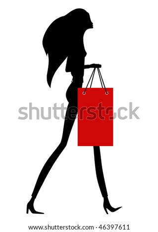 Female silhouette with shopping bag