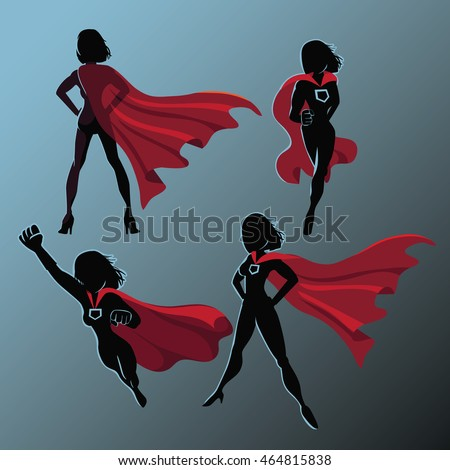 Female Superhero Silhouette Action Poses Collection Stock ...