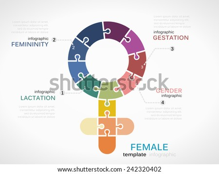 Female symbol infographic template with puzzled jigsaw sign - stock vector