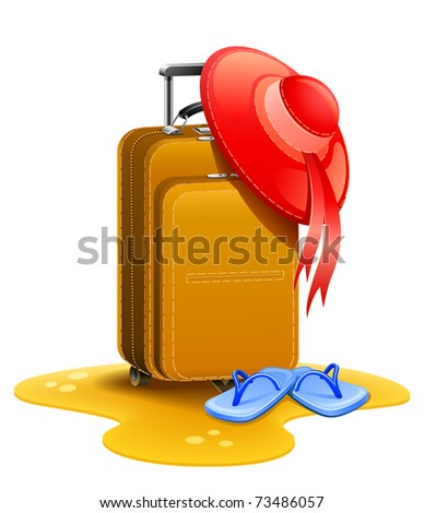 female travel suitcase with bonnet and slippers on sand vector illustration isolated white background - stock vector