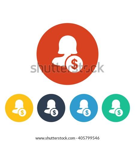 Female user earnings icon, eps user earnings icon, user earnings icon image, user earnings icon logo, user earnings icon button, user earnings icon design, user earnings icon badge, white female icon - stock vector