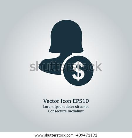 Female user earnings icon, eps user earnings icon, user earnings icon image, user earnings icon logo, user earnings icon button, user earnings icon design, user earnings icon badge, solid user icon - stock vector