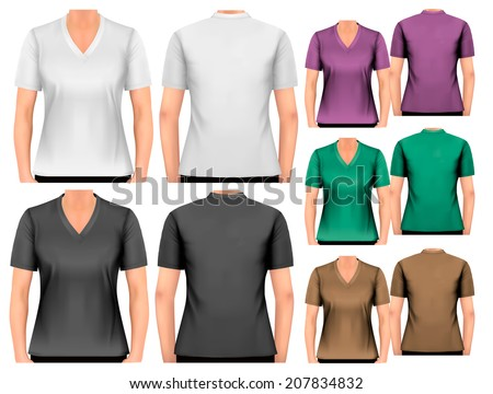 Female v-neck t-shirts. Design template. Vector. - stock vector