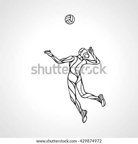 Female volleyball player outline silhouette - stock vector