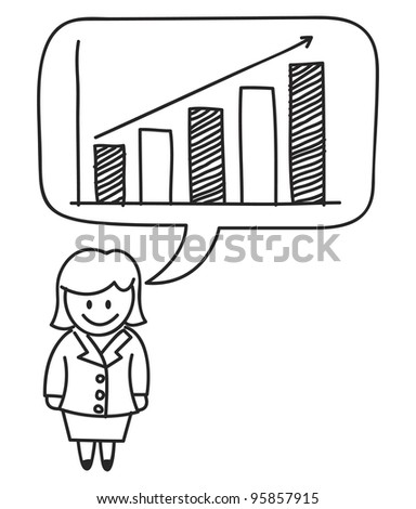 female with profit graph - stock vector