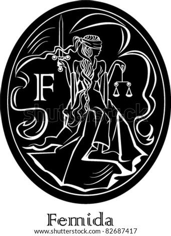 Femida - a goddess of justice - oval frame - stock vector
