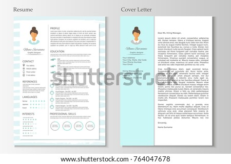 Feminine Resume Cover Letter Infographic Design Stock Vector