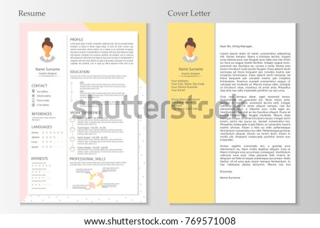 Feminine Resume Cover Letter Infographic Design Stock Vector Hd