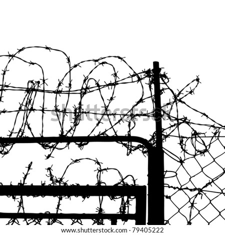 fence from barbed wires - stock vector