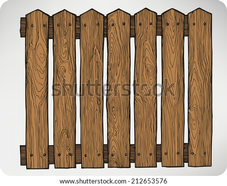Fence from wooden boards seamless, hand-drawing. Vector illustration. - stock vector
