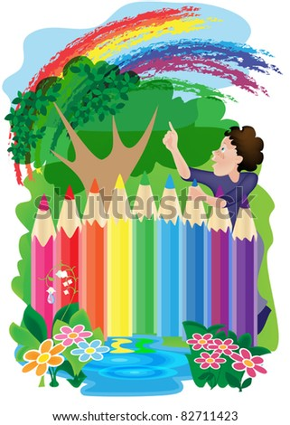 fence of pencils around the flower garden and a boy - stock vector