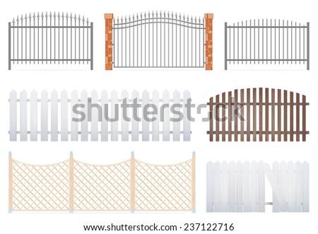 Fence set on white background - Vector Illustration. - stock vector
