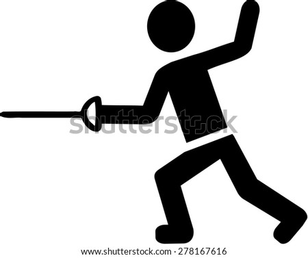 Fencer Pictogram - stock vector