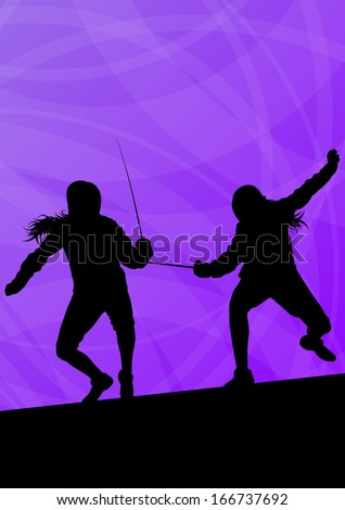 Fencing active young women sword fighting sport silhouettes vector abstract background illustration - stock vector
