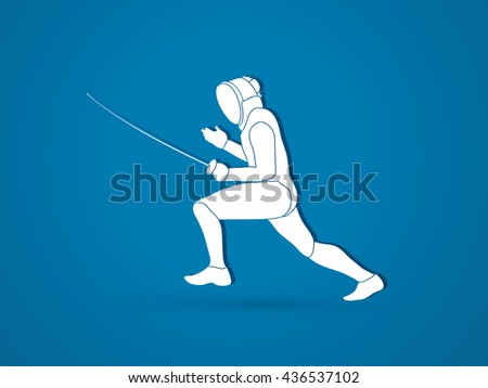 Fencing pose graphic vector