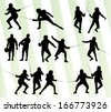 Fencing sport silhouette vector background set - stock vector