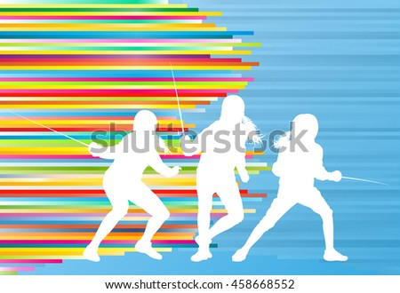 Fencing woman sport silhouette vector background concept - stock vector