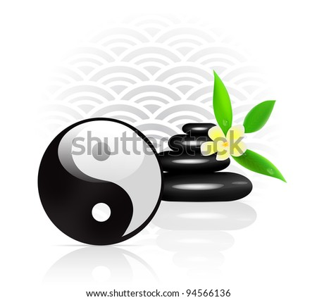 Feng Shui Background With Yin Yang Symbol Stock Vector