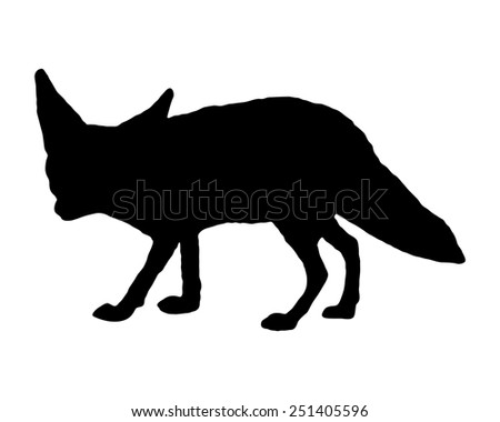 Fennec fox silhouette - stock vector