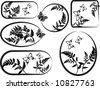 Fern leaves illustrated in a grunge frame elements with butterflies. - stock vector