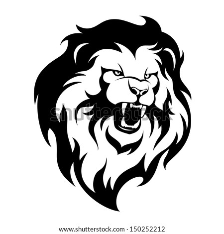 Ferocious lion stylized illustration for your design - stock vector