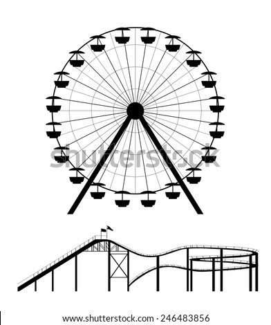 Ferris wheel and roller coaster silhouette - stock vector