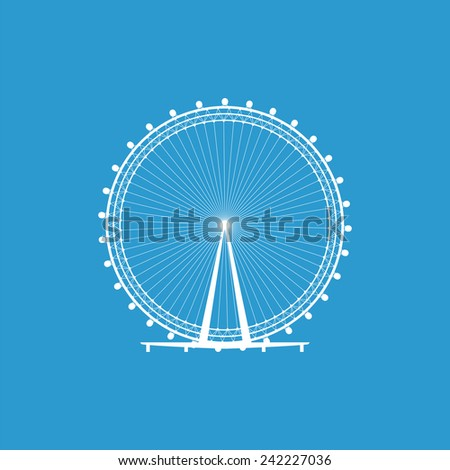 Ferris Wheel icon, isolated, white on the blue background. Exclusive Symbols  - stock vector