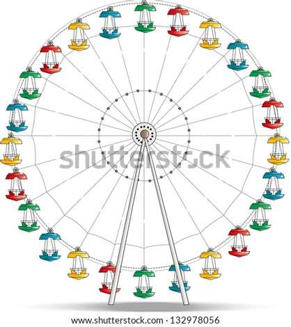 Ferris wheel isolated on white. Vector illustration - stock vector