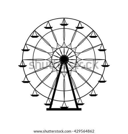 Ferris wheel silhouette, circle. Carnival. Funfair background.Carousel, motion. Vector illustration.
