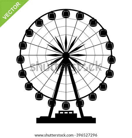 Ferris wheel silhouettes vector - stock vector