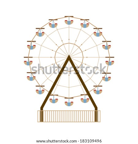 Ferris Wheel Vector Illustration - stock vector