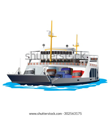 Ferry boat isolated on white background stock vector 302563175 ferry boat isolated on white background it is taking cars and trucks crossing the harbor sciox Images