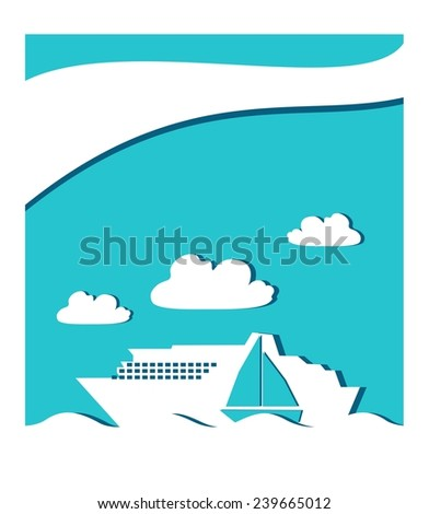 ferryboat on sea waves - stock vector