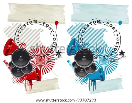 fest grunge background with speakers and megaphone - stock vector