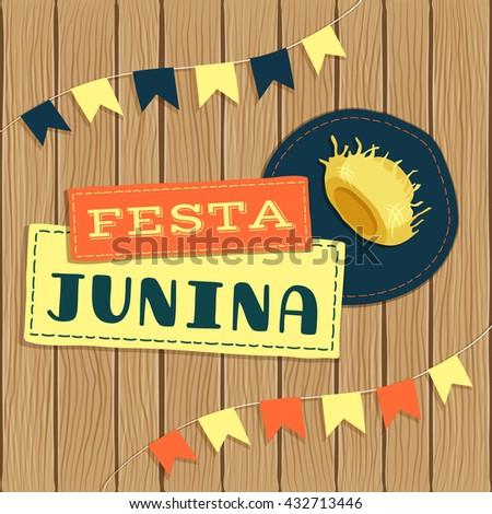 Festa Junia, brazilian june fest logo with elements and background. - stock vector