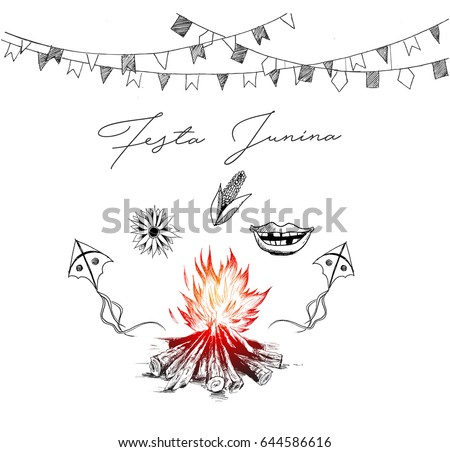Festa Junina illustration - traditional Brazil june festival party, Party decoration vector. Bunting banners.