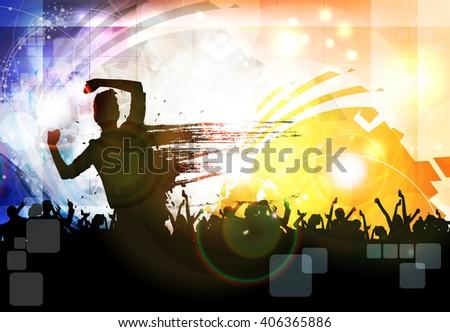 Festival. Crowd of dancing people - stock vector