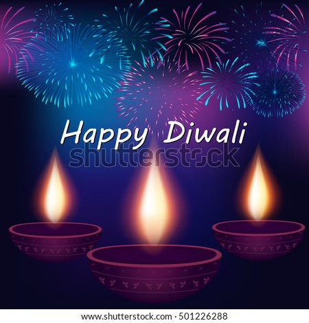 Festival Lights Happy Diwali Celebration Elegant Stock Vector ...