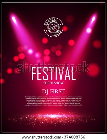 Festival Poster Template with Spotlights & Bokeh. Win, Concert, Party, Theater, Dance, Presentation & Show Design. Empty Scene with Stage Curtain. Vector illustration - stock vector