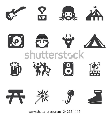 Festival Silhouette icons - stock vector